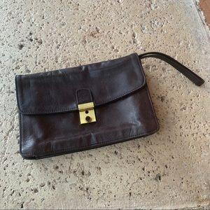 Vintage Brown Leather Wallet Clutch Wristlet!